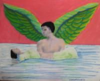 Angel taking drowned woman to heaven